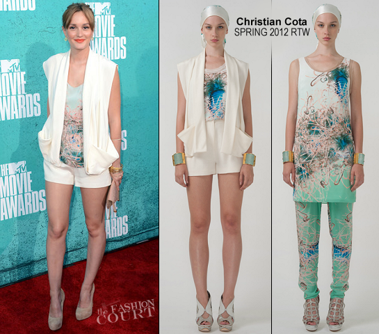 Leighton Meester in Christian Cota | 2012 MTV Movie Awards