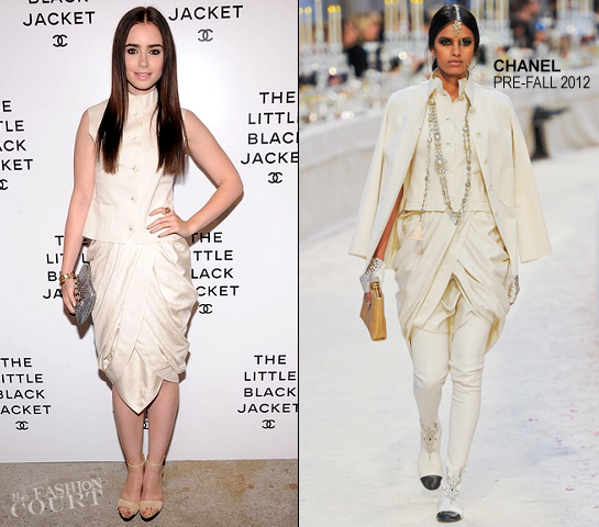 Lily Collins in Chanel   The Little Black Jacket: CHANEL Exhibit