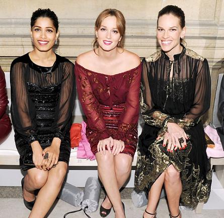 Leighton Meester, Freida Pinto & Hilary Swank at the Ferragamo Resort 2013 Fashion Show!