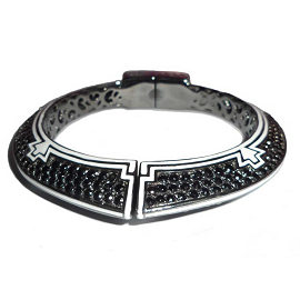 M.C.L By Matthew Campbell Laurenza Futuristic Deco Bangle with Black Sapphires and White Enamel