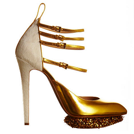 Nicholas Kirkwood for Prabal Gurung Fall 2012 Gold Pumps