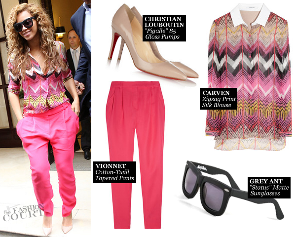 Beyonce Lights Up Paris in Bright Pink Carven and Vionnet!
