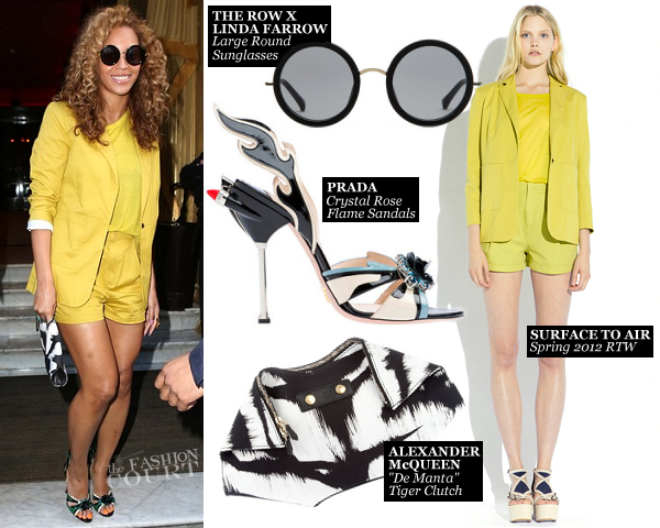 Beyoncé Steps Out in Paris Wearing a Yellow Shorts Suit!