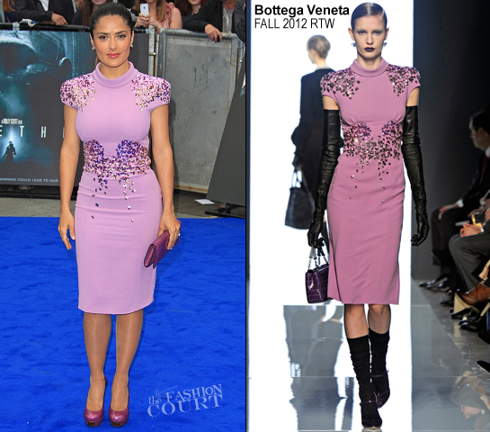 Salma Hayek in Bottega Veneta | 'Prometheus' London Premiere