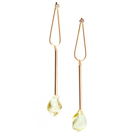 Vanessa Leu 18K and 14K Yellow Gold Reverie Earrings with Lemon Quartz and Diamonds