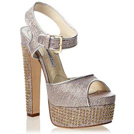 Brian Atwood KARIN Metallic Platform Sandals