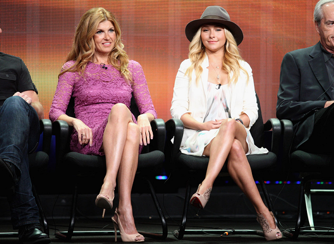 Connie Britton in Dolce & Gabbana and Hayden Panettiere in Alice + Olivia | 2012 Summer TCA Tour: 'Nashville'