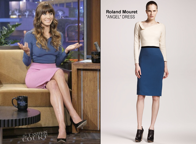 Jessica Biel in Roland Mouret | 'The Tonight Show with Jay Leno'