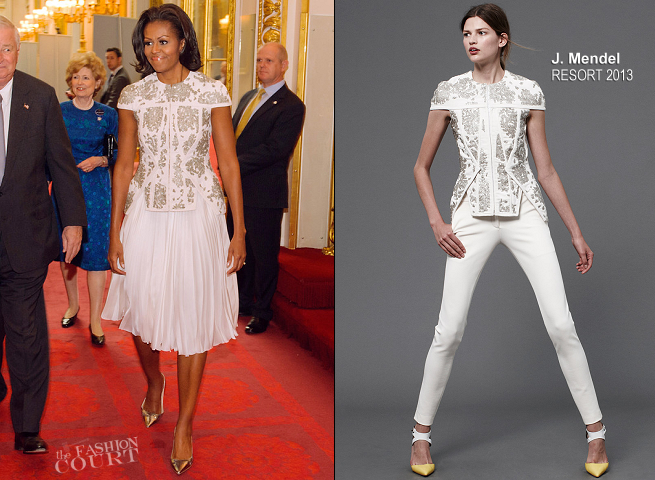 Michelle Obama in J. Mendel | 2012 Olympics Opening Ceremony Reception at Buckingham Palace