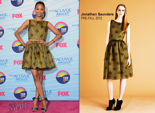 Zoe Saldana in Jonathan Saunders | 2012 Teen Choice Awards