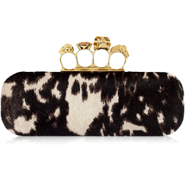 Alexander McQueen Peppered Pony Knuckle Duster Box Clutch