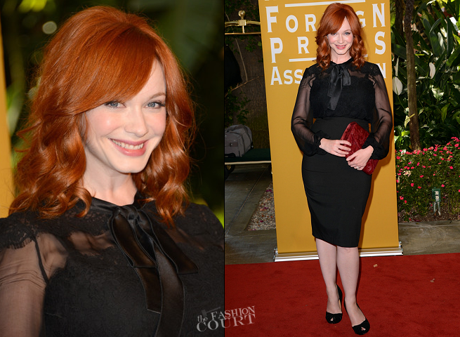 Christina Hendricks in Dolce & Gabbana | Hollywood Foreign Press Association's 2012 Installation Luncheon