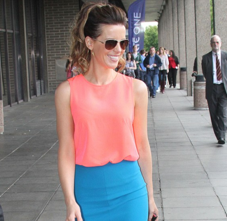 Kate Beckinsale in H&M and Diane von Furstenberg | 'Total Recall' Press in Dublin