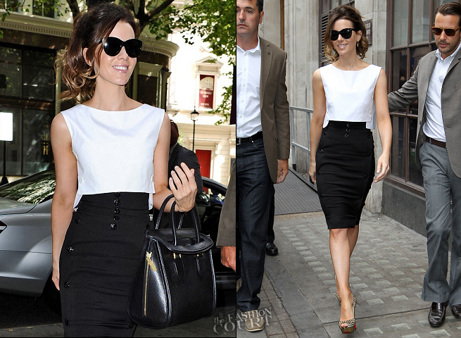 Kate Beckinsale in Jean Paul Gaultier | 'Total Recall' London Press Tour