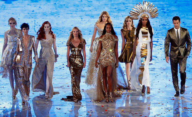 Glittering Supermodels at the 2012 London Olympics Games Closing Ceremony