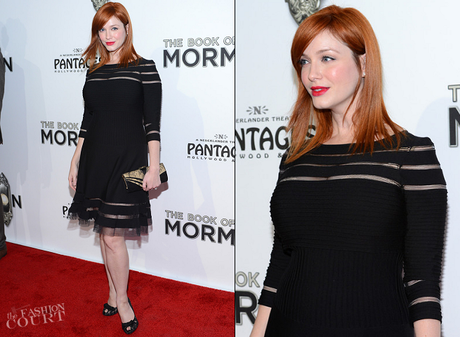 Christina Hendricks in Tadashi Shoji | 'The Book of Mormon' LA Opening Night