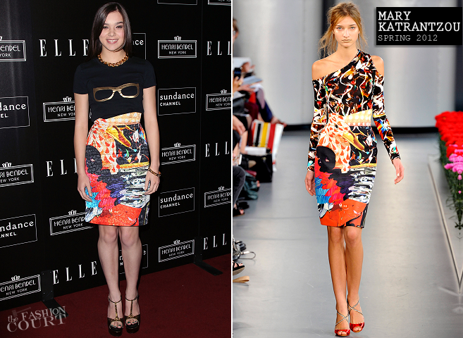 Hailee Steinfeld in Mary Katrantzou | ELLE & Sundance Channel Celebrate 'All On The Line With Joe Zee'