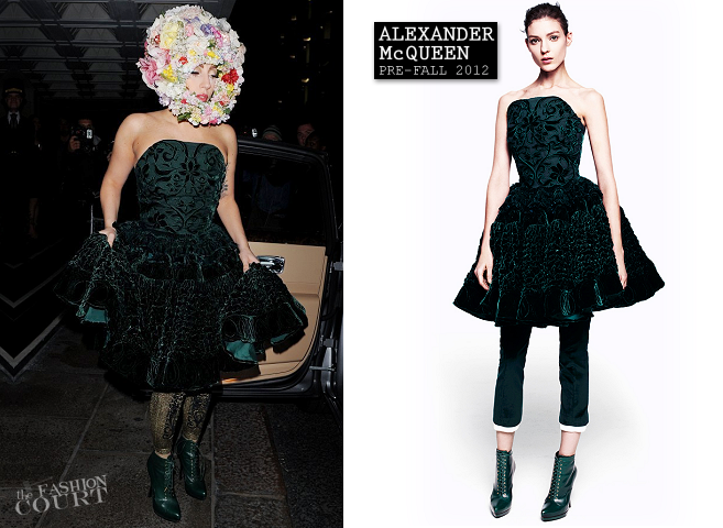 Lady Gaga in Alexander McQueen | London Fashion Week - Spring 2013: Philip Treacy