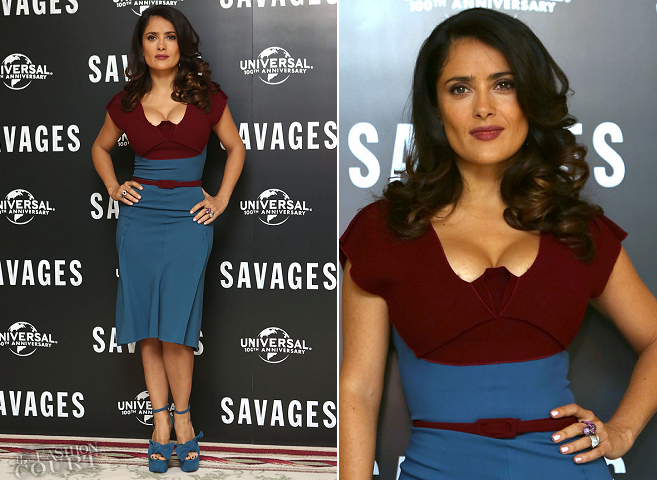 Salma Hayek-Pinault in Roland Mouret | 'Savages' London Photocall