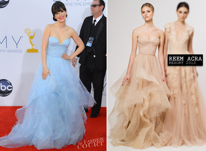 Zooey Deschanel in Reem Acra | 2012 Emmy Awards