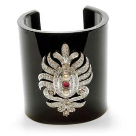 Amrapali Black Bakelite Cuff with Diamonds and Ruby Center Stone