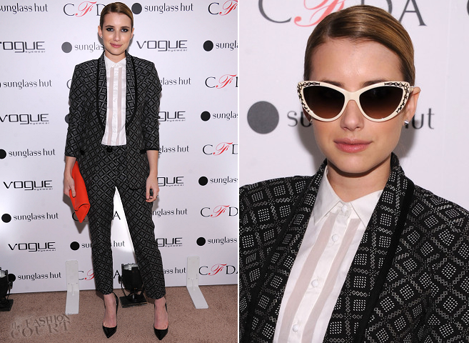 Emma Roberts in Nanette Lepore | Vogue Eyewear & CFDA Unveil The 'Emma' Sunglass