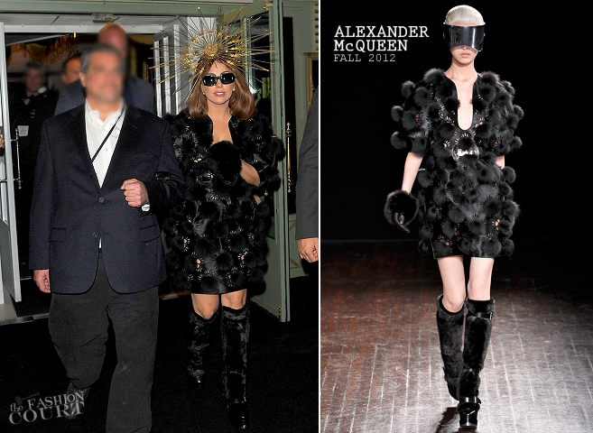 Lady Gaga in Alexander McQueen | Leaving the FAME Fragrance Launch at Harrods