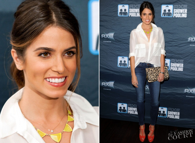 Nikki Reed in Mango & J Brand Jeans | AXE Showerpooling Event