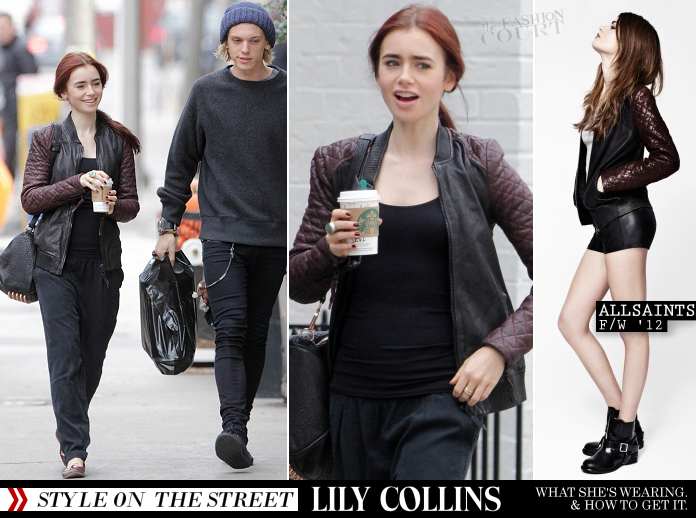 Street Style: Lily Collins in AllSaints & Alexander Wang