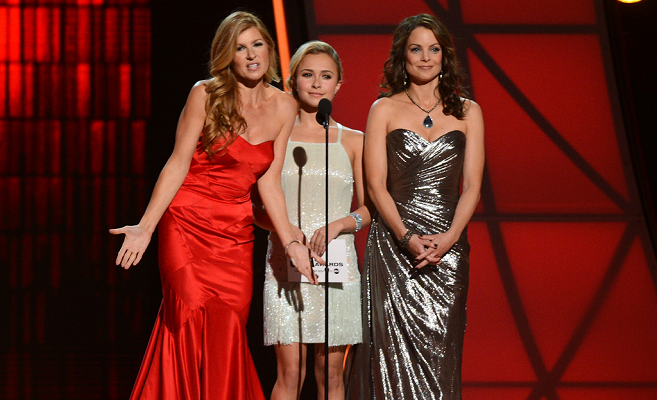Connie Britton, Hayden Panettiere and Kimberly Williams-Paisley during the CMA Awards 2012.
