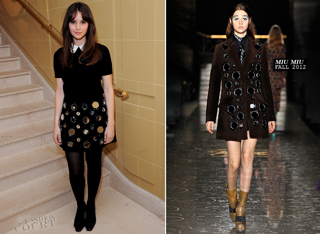 Felicity Jones in Miu Miu | the-miumiu-london Pop-Up Launch Party