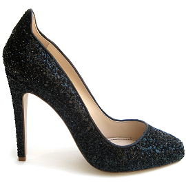 Jerome C. Rousseau AIZZA Black Glitter Pumps