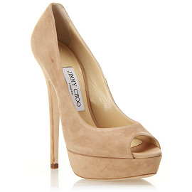 Jimmy Choo VIBE Peep Toe Platform Pumps in Nude