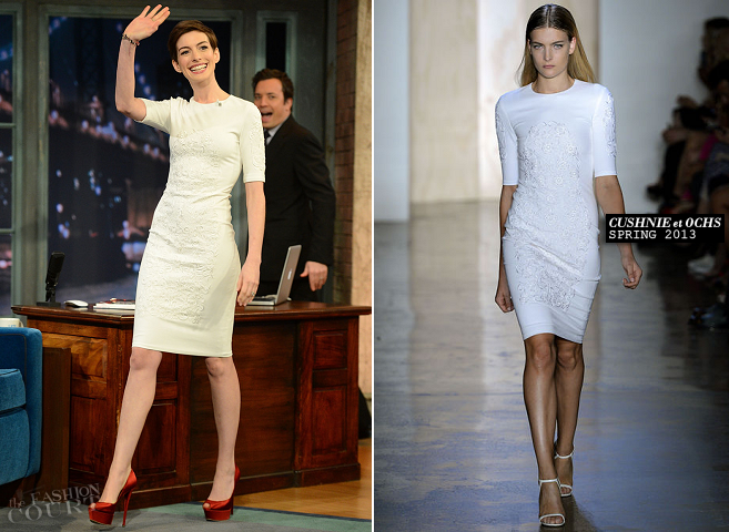 Anne Hathaway in Cushnie et Ochs | 'Late Night With Jimmy Fallon'