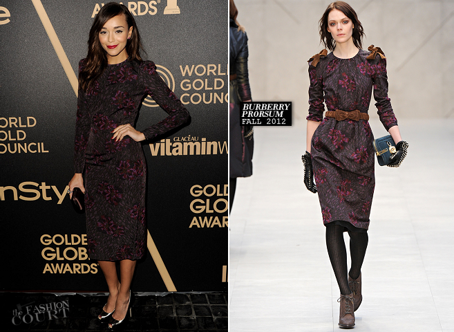 Ashley Madekwe in Burberry Prorsum | HFPA & InStyle Miss Golden Globe 2013 Party