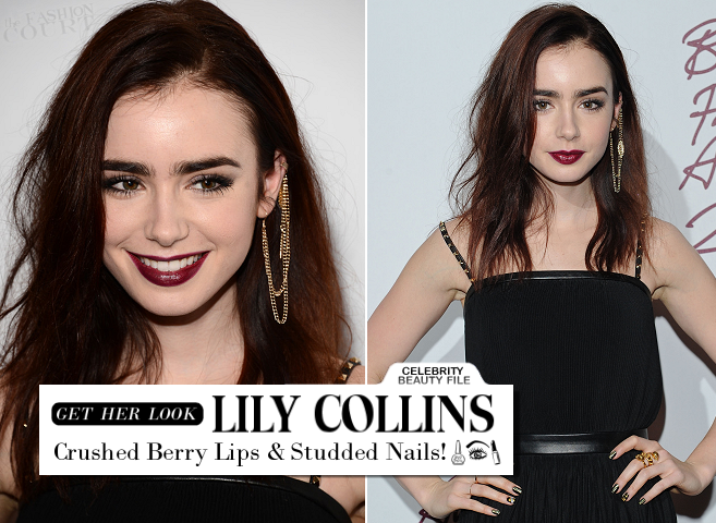 Get Lily Collins' Crushed Berry Lips and Studded Nails from the British Fashion Awards!