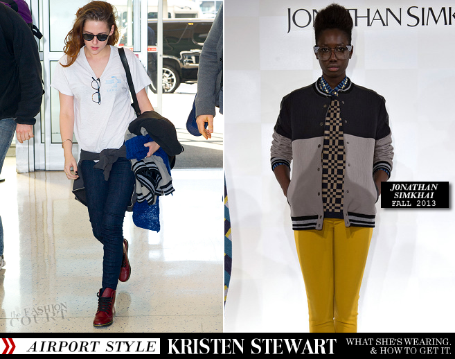 Kristen Stewart Totes An Advanced Jonathan Simkhai Jacket & Barbara Bui Backpack!