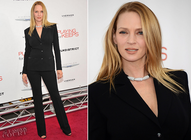 Uma Thurman in Atelier Versace | 'Playing For Keeps' New York Premiere