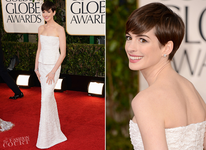 Anne Hathaway in Chanel Couture | 2013 Golden Globes