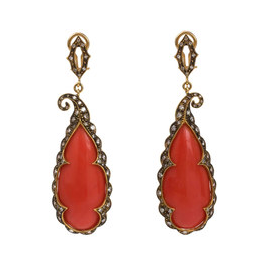 Cathy Waterman Large Scalloped Frame Coral Earrings