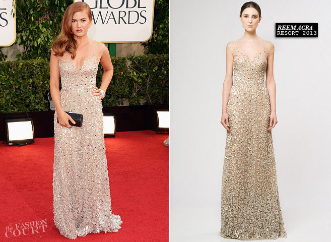 Isla Fisher in Reem Acra | 2013 Golden Globes