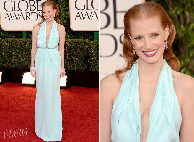 Jessica Chastain in Calvin Klein | 2013 Golden Globes