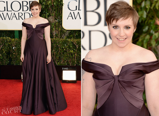 Lena Dunham in Zac Posen | 2013 Golden Globes