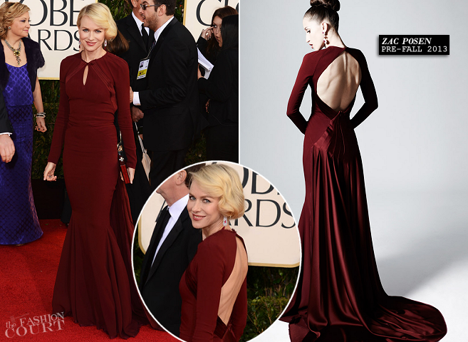 Naomi Watts in Zac Posen | 2013 Golden Globes