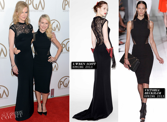 Nicole Kidman in L'Wren Scott & Naomi Watts in Victoria Beckham | 2013 Producers Guild Awards