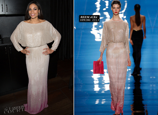 Rosario Dawson in Reem Acra | Voto Latino Welcome To 1600 Part II Inaugural Gala