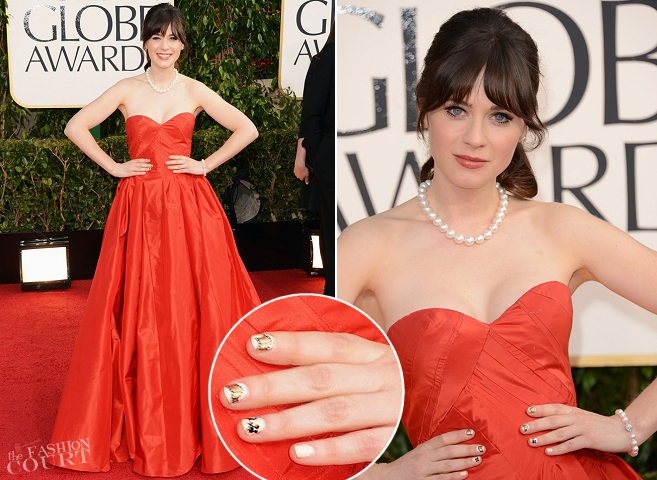 Zooey Deschanel in Oscar de la Renta | 2013 Golden Globes