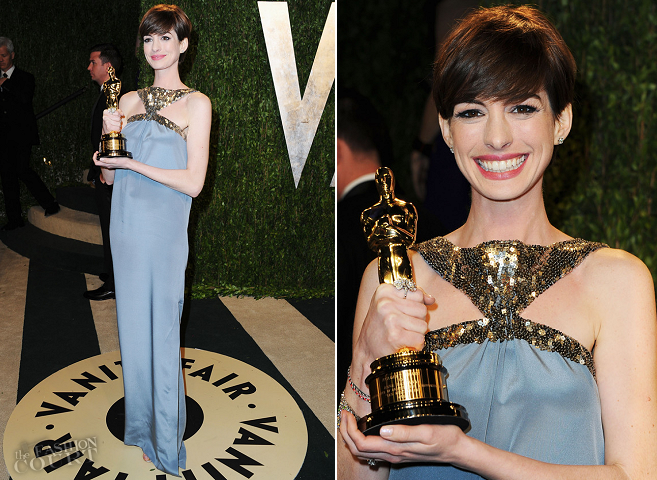 Anne Hathaway in Saint Laurent | 2013 Vanity Fair Oscar Party