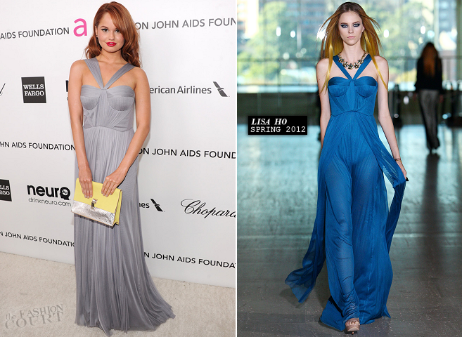 Debby Ryan in Lisa Ho | 2013 Elton John AIDS Foundation Academy Awards Viewing Party