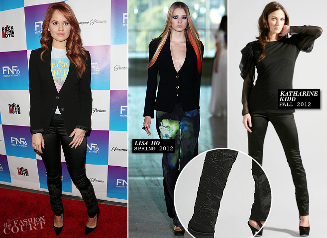Debby Ryan in Lisa Ho, Vintage & Katharine Kidd | 2013 'Friends 'N' Family' Pre-GRAMMY Event